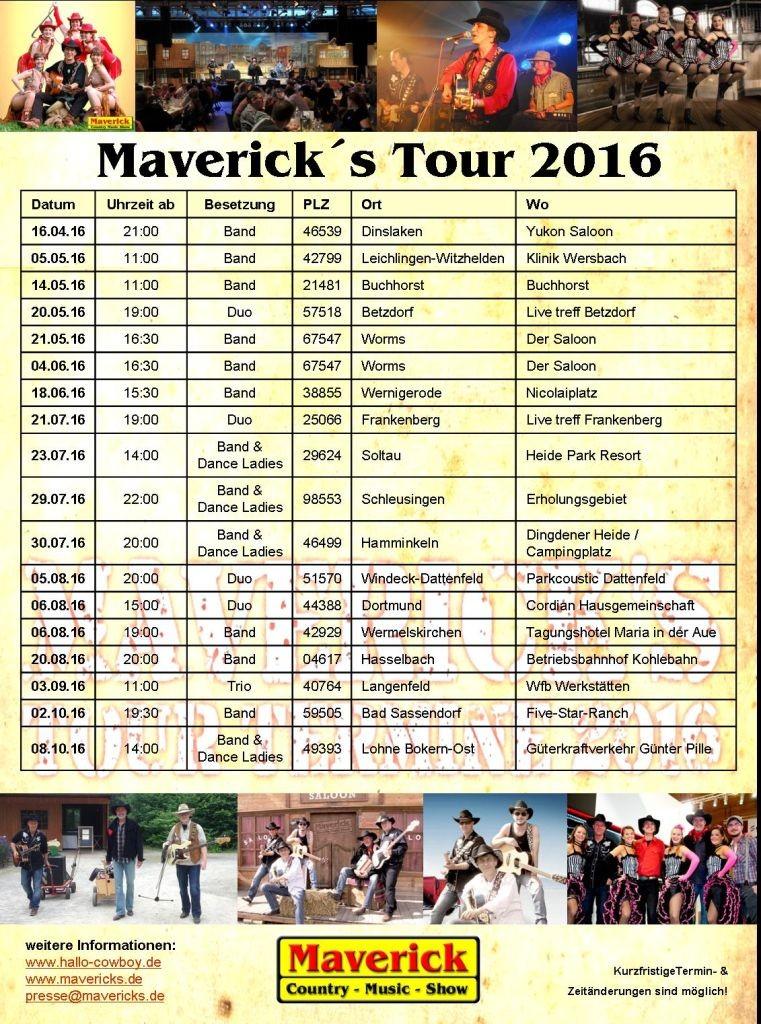 Maverick's Termine 2016